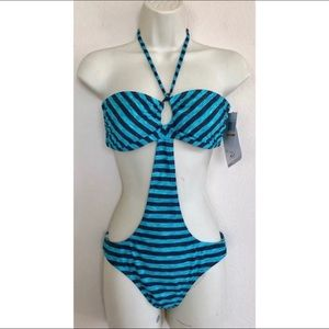 Oakley Teal 3D Stripe Reversible Monokini Swimsuit
